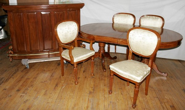 100003: ROSEWOOD BAR, BUFFET, TABLE, 10 DAMASK CHAIRS