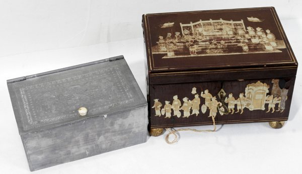 100004: JAPAN LACQUOR TEA CADDY W/PEWTER BOX FIGURES