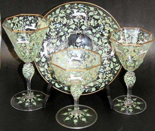 100005: VENETIAN GLASS & ENAMEL STEMWARE + PLATES