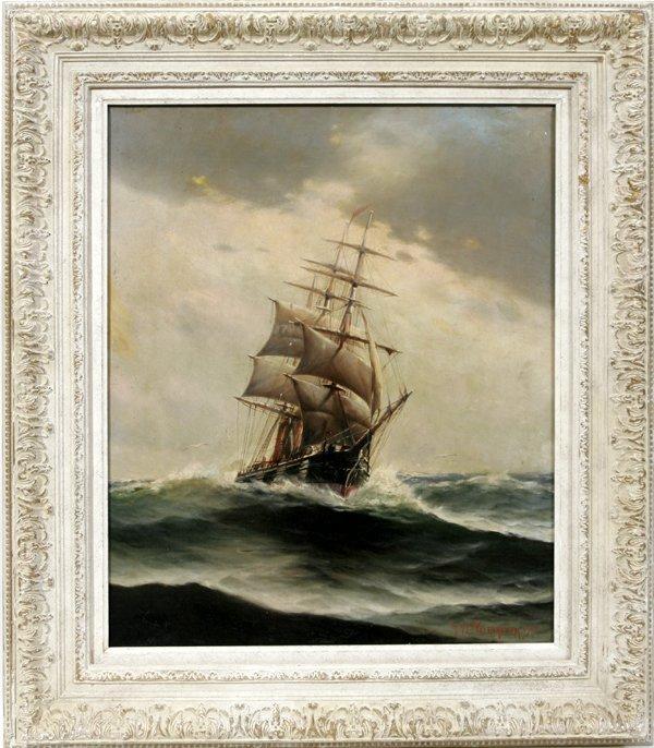100010: TVC VALENKAMPH OIL ON CANVAS, TALL MAST SHIP