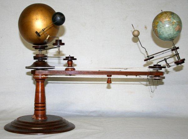 100206: LAING'S WOOD & BRASS PLANETARIUM, LATE 19TH C.