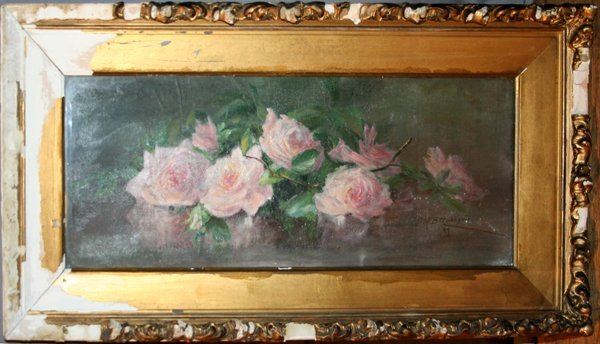 100304: S.N.B. HUBBARD, OIL ON CANVAS, PINK ROSES