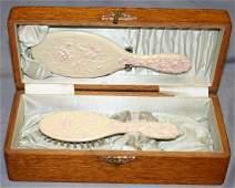 100529: VICTORIAN CHILD'S OAK & SILK LINED DRESSER BOX