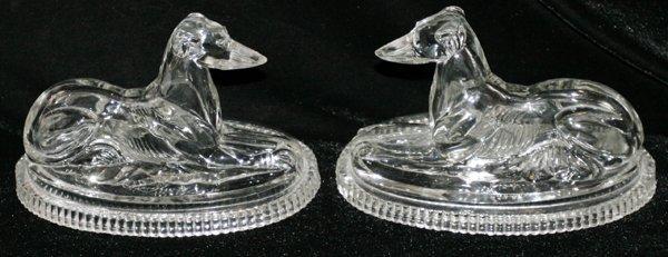 101004: J. DERBYSHIRE ENGLISH GLASS GREYHOUNDS, C.1875