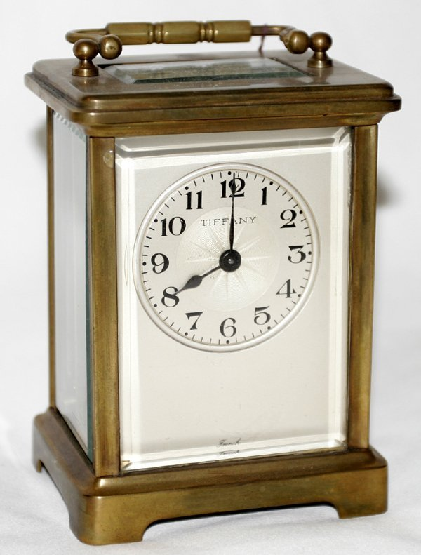 101007: FRENCH BRASS & BEVELED CRYSTAL CARRIAGE CLOCK