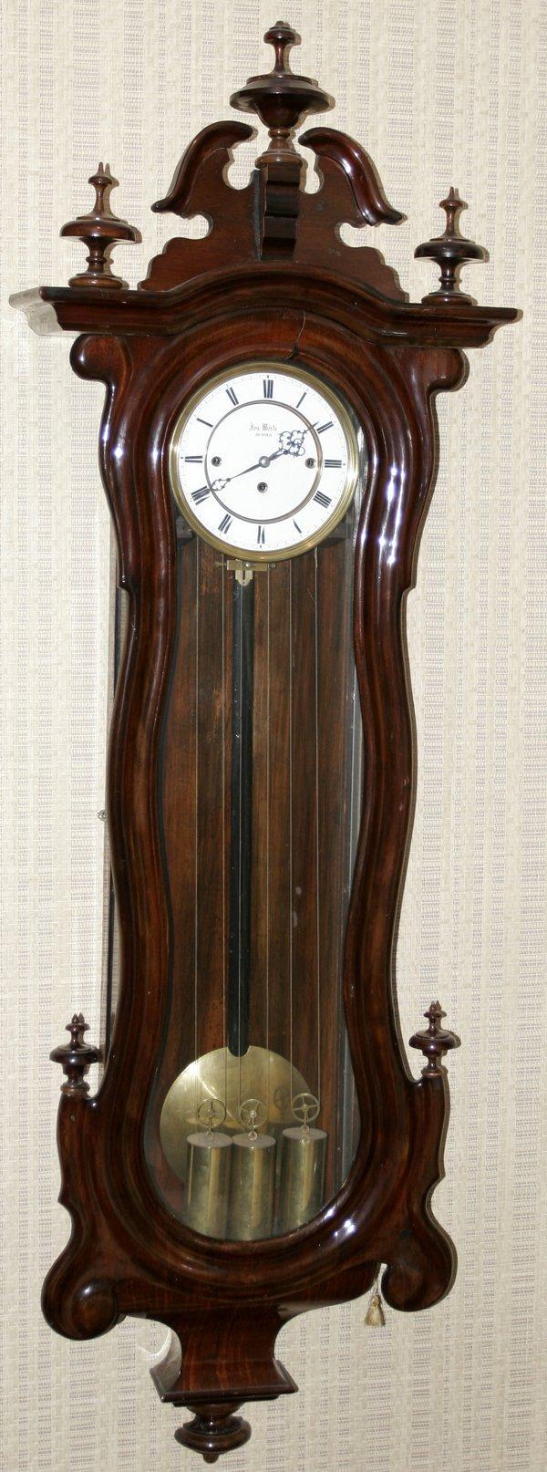 101008: VON WORLE VIENNESE WALNUT REGULATOR CLOCK