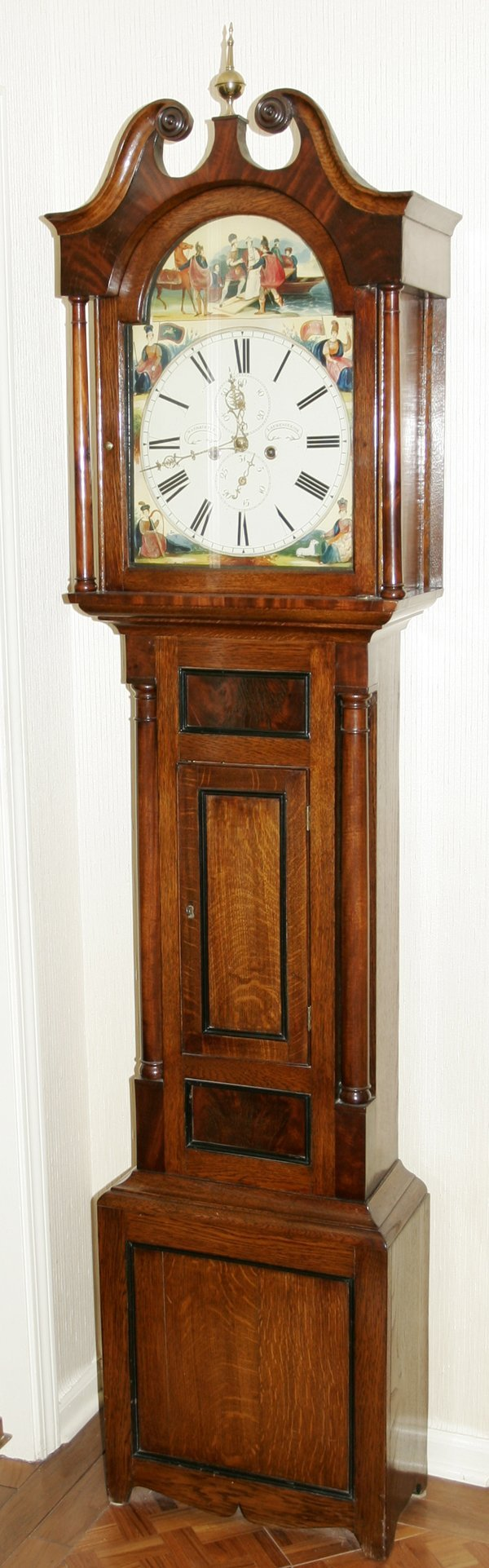101009: WILLIAM CHRISTIE-LAURENCE KIRK OAK TALL CLOCK