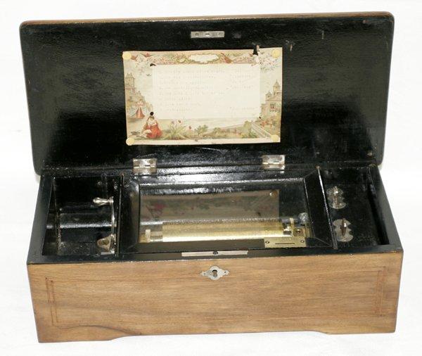 101016: SWISS WALNUT CYLINDER MUSIC BOX, C.1892