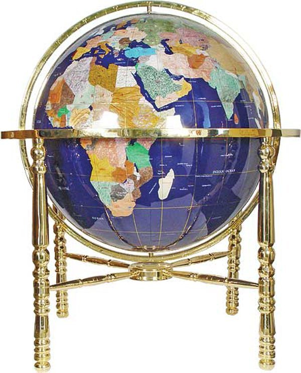 101020: SEMI PRECIOUS STONE GLOBE ON BRASS STAND
