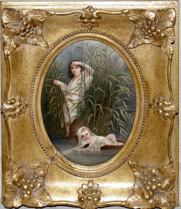 101213: PORCELAIN PLAQUE, 'BABY MOSES IN BASKET'