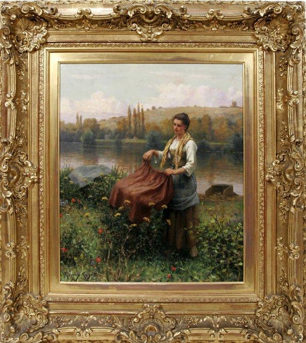 102002: DANIEL R. KNIGHT OIL ON CANVAS, FRENCH WOMAN