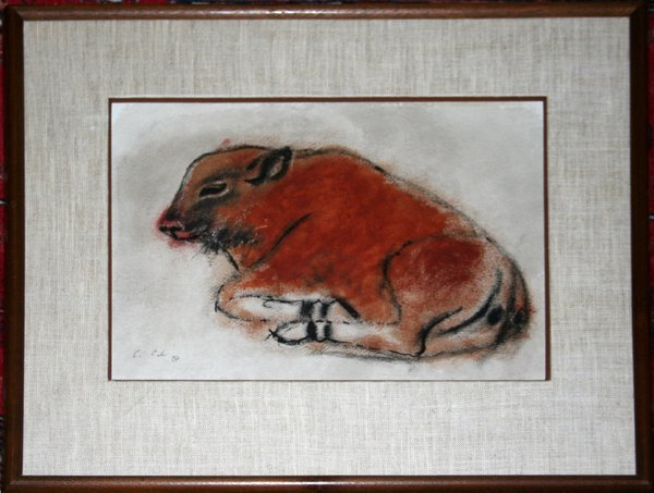 102019: CHARLES CULVER WATERCOLOR DEPICTING A BISON