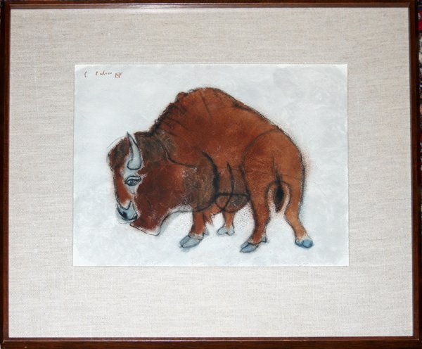 102020: CHARLES CULVER WATERCOLOR DEPICTING A BISON