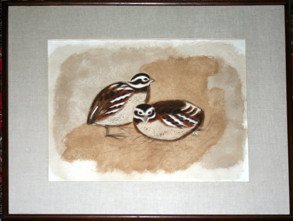 102021: CHARLES CULVER WATERCOLOR DEPICTING TWO QUAILS