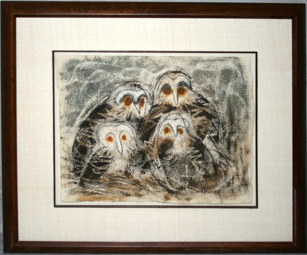 102023: CHARLES CULVER WATERCOLOR, OWLS & DUCK