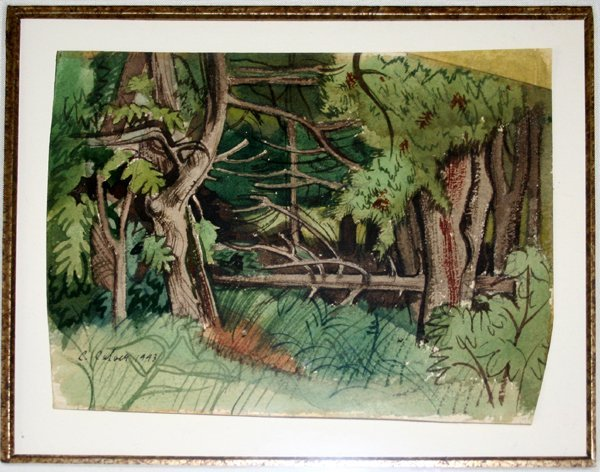 102024: CHARLES CULVER WATERCOLOR ON PAPER, FOREST
