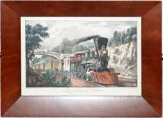 102276 CURRIER  IVES LITHOGRAPH THE EXPRESS TRAIN