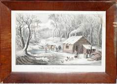 102277 CURRIER  IVES LITHOGRAPH HOME IN WILDERNESS