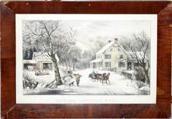 102278 CURRIER  IVES LITHOGRAPH AMERICAN HOMESTEAD
