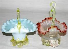 102445: VICTORIAN GLASS BRIDE'S BASKETS, TWO