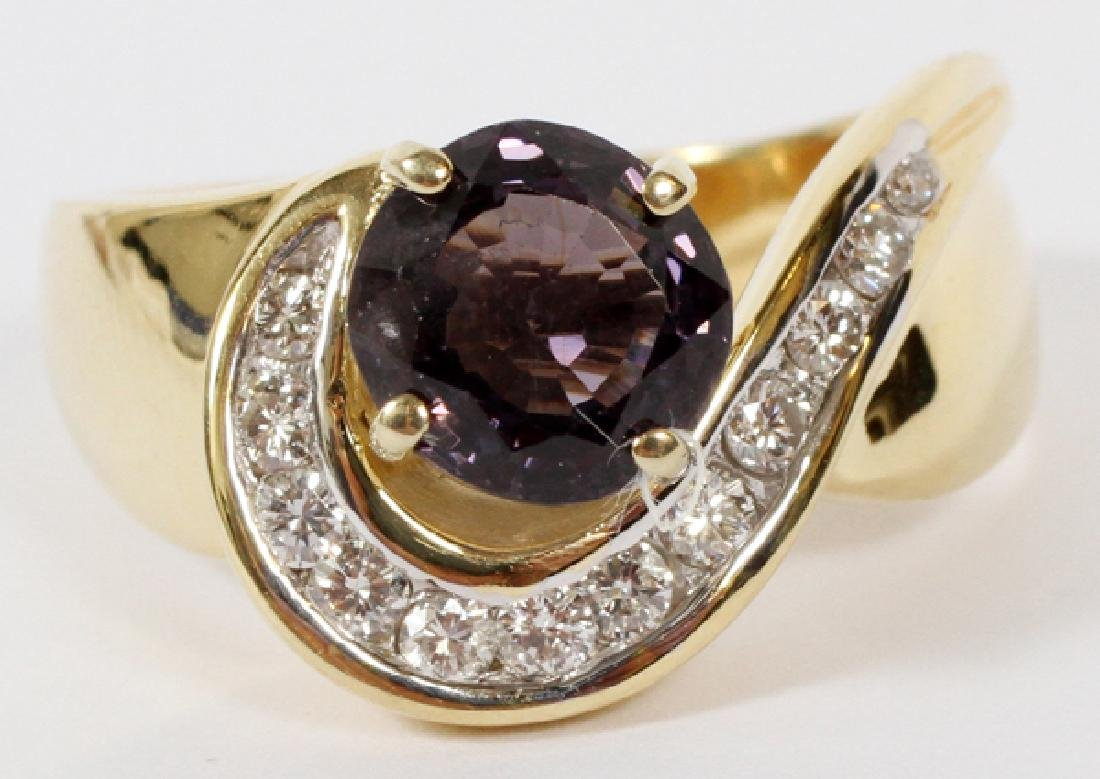 NATURAL PURPLE SPINEL AND 0.40CT DIAMONDS RING