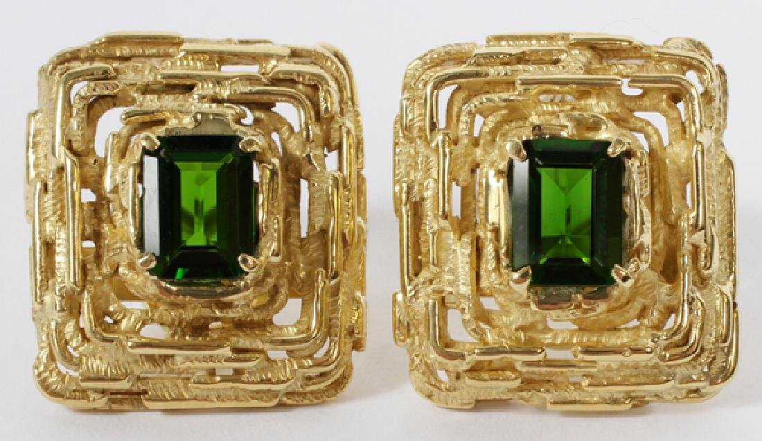 YELLOW GOLD & NATURAL GREEN DIOPSIDE EARRINGS