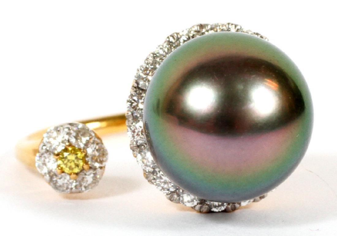 13MM NATURAL TAHITIAN PEACOCK PEARL & DIAMOND RING