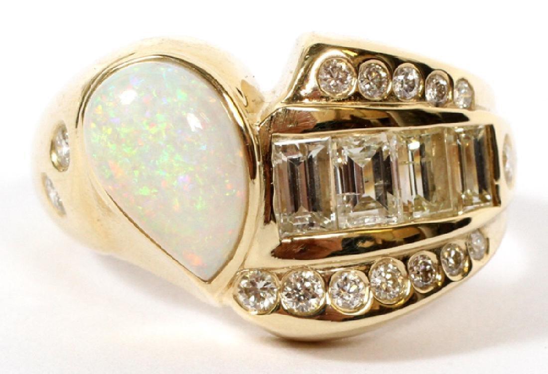 NATURAL PEAR SHAPE OPAL & 1CT BAGUETTE DIAMOND RING