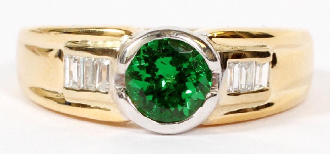 YELLOW GOLD NATURAL GREEN GARNET & DIAMOND RING