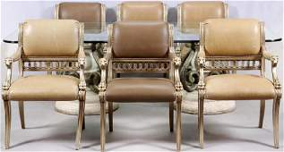 HENREDON GLASS TOP AND ARM CHAIRS 9 PCS.