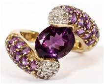 LADYS AMETHYST DIAMOND AND 10 KT GOLD RING