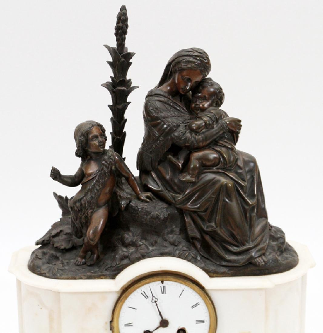 A. BLANCHARD BRONZE & MARBLE MANTEL CLOCK 19TH C. - 2