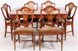 HEPPLEWHITE STYLE MAHOGANY DINING TABLE AND CHAIRS