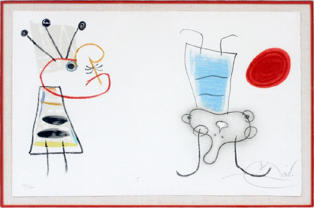 JOAN MIRO SPANISH COLORED LITHOGRAPH TWO FIGURES