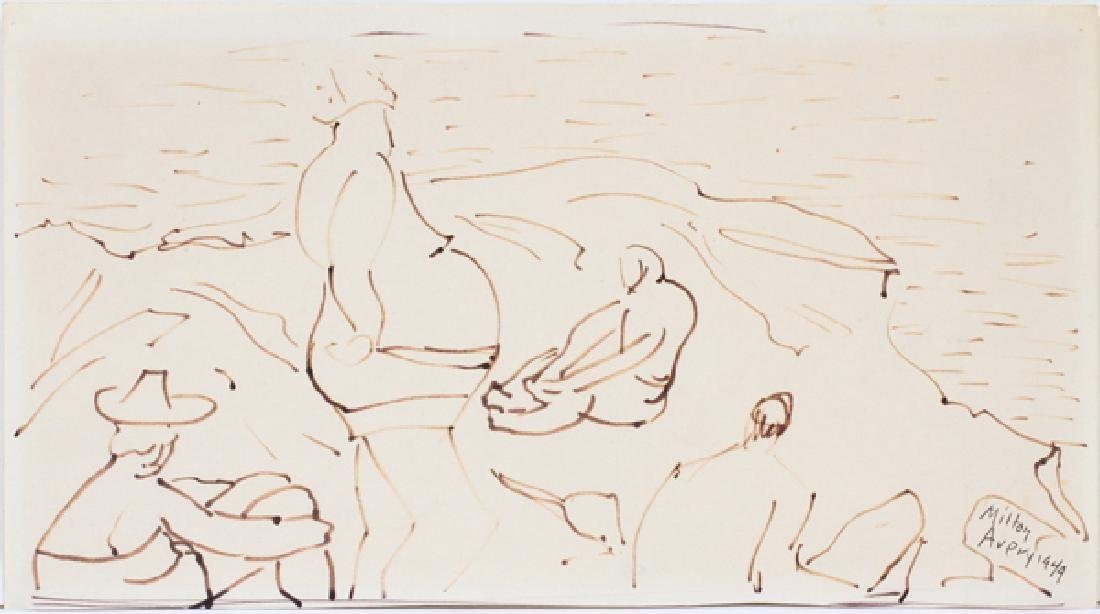 MILTON AVERY PEN AND INK DRAWING BEACH SCENE 1949