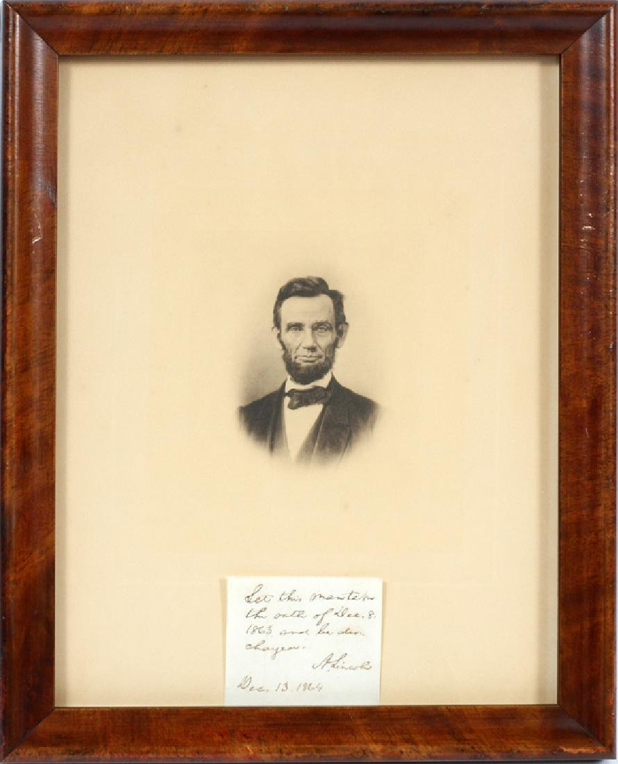 ABRAHAM LINCOLN SIGNED NOTE 1864