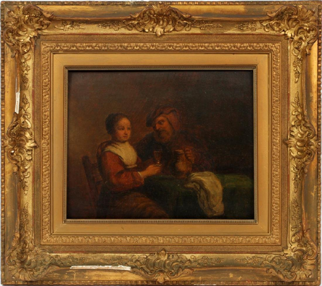 AFTER GERARD DOU OIL ON BOARD 19TH C