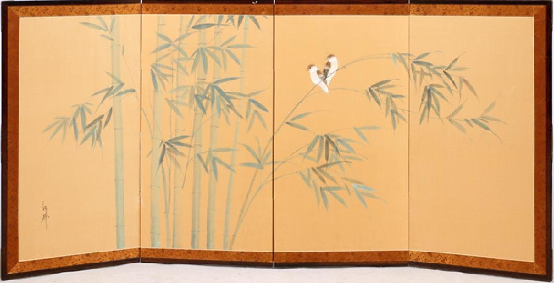 JAPANESE FOUR PANEL PAINTED ORIENTAL FOLDING SCREEN