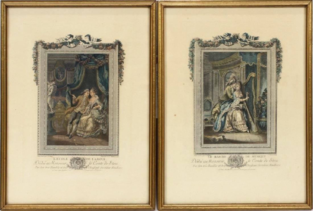 PAIR OF 18TH CENTURY COLORED FRENCH ETCHINGS