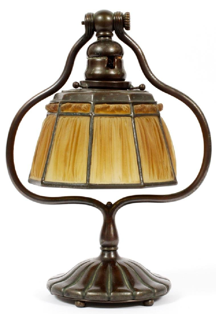 TIFFANY STUDIOS BRONZE AND GLASS TABLE LAMP
