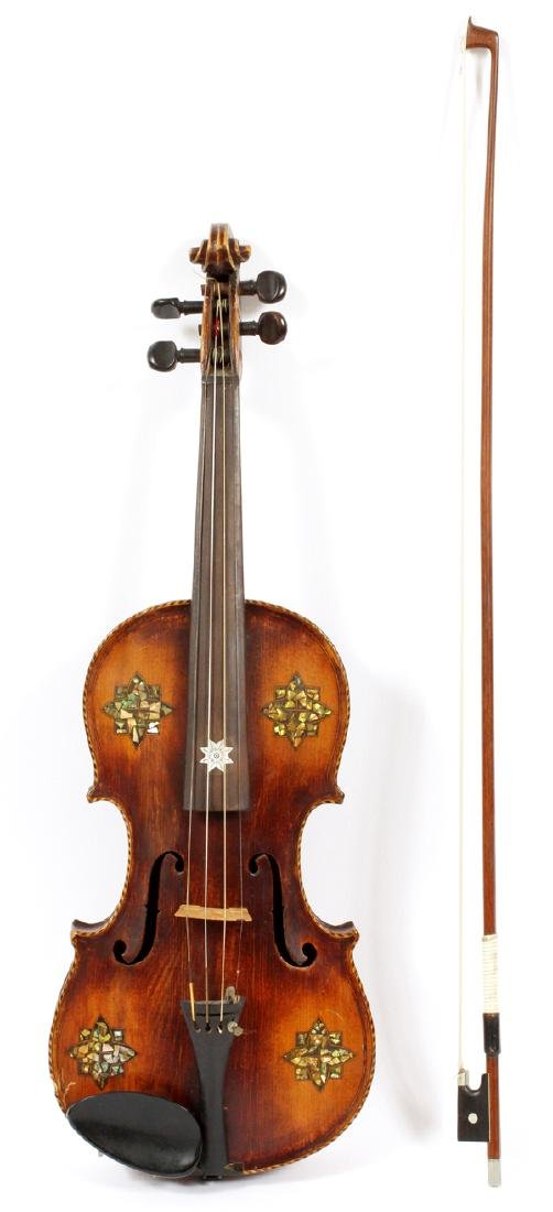 GERMAN VIOLIN MOTHER OF PEARL INLAY, BOW C. 1900