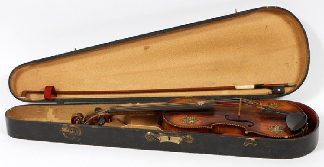 GERMAN VIOLIN MOTHER OF PEARL INLAY, BOW C. 1900 - 3