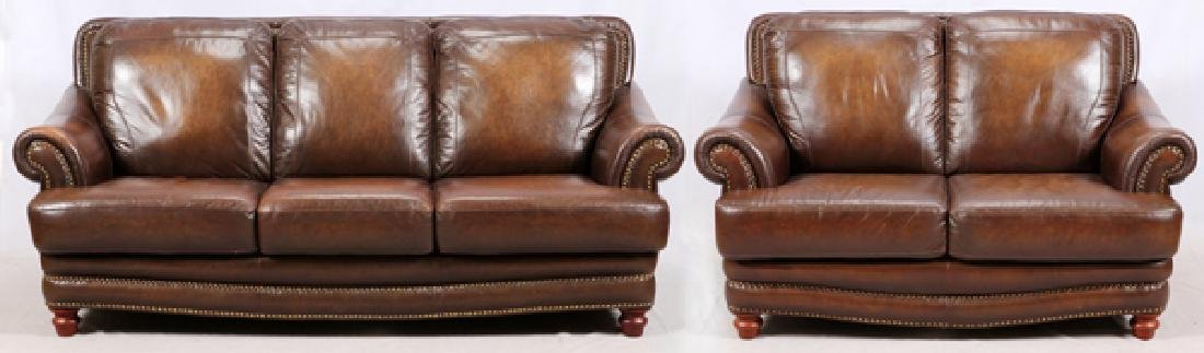MODERN LEATHER 3 CUSHION SOFA AND SETTEE