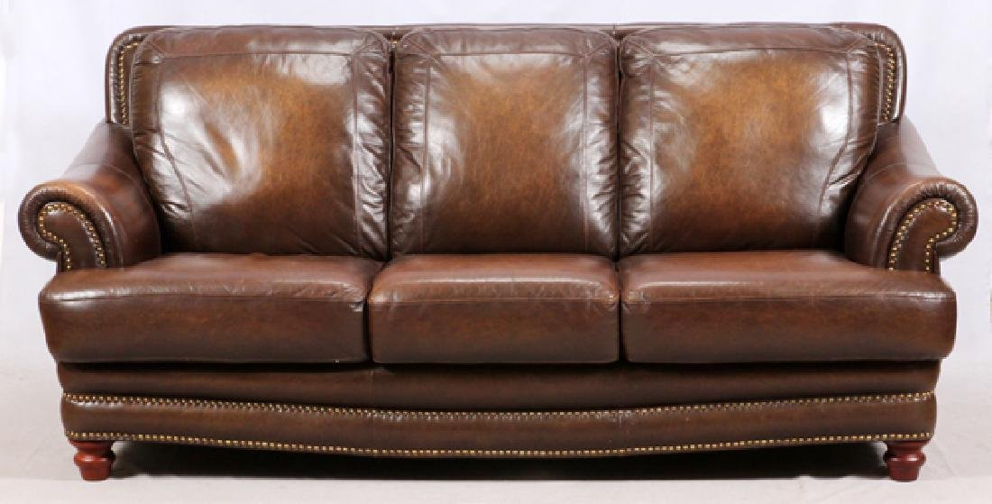 MODERN LEATHER 3 CUSHION SOFA AND SETTEE - 2