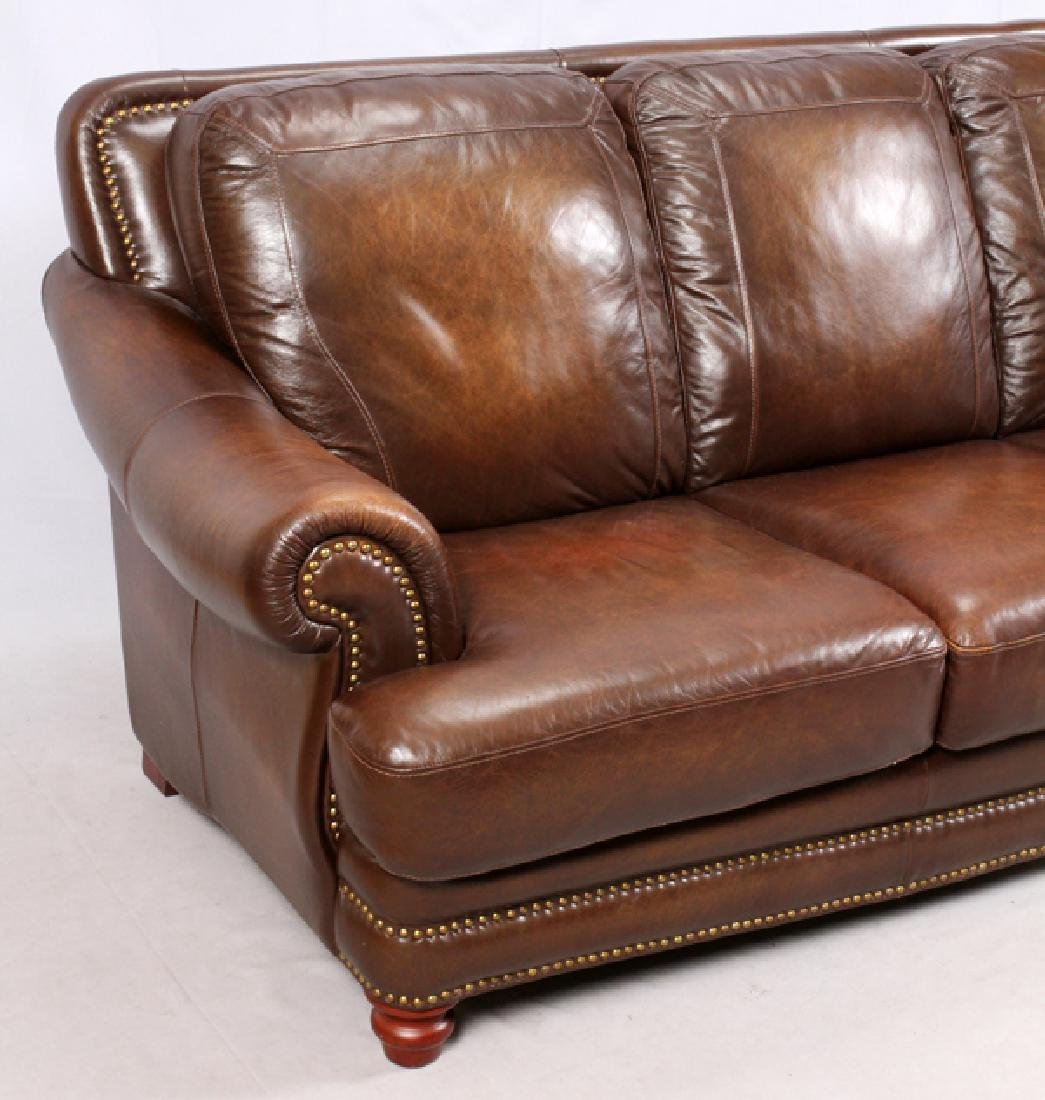 MODERN LEATHER 3 CUSHION SOFA AND SETTEE - 3