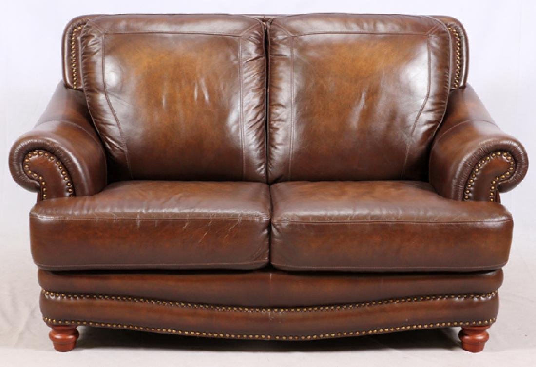 MODERN LEATHER 3 CUSHION SOFA AND SETTEE - 4