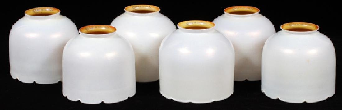 GROUP OF SIX QUEZAL ART GLASS SHADES EARLY 20TH C.