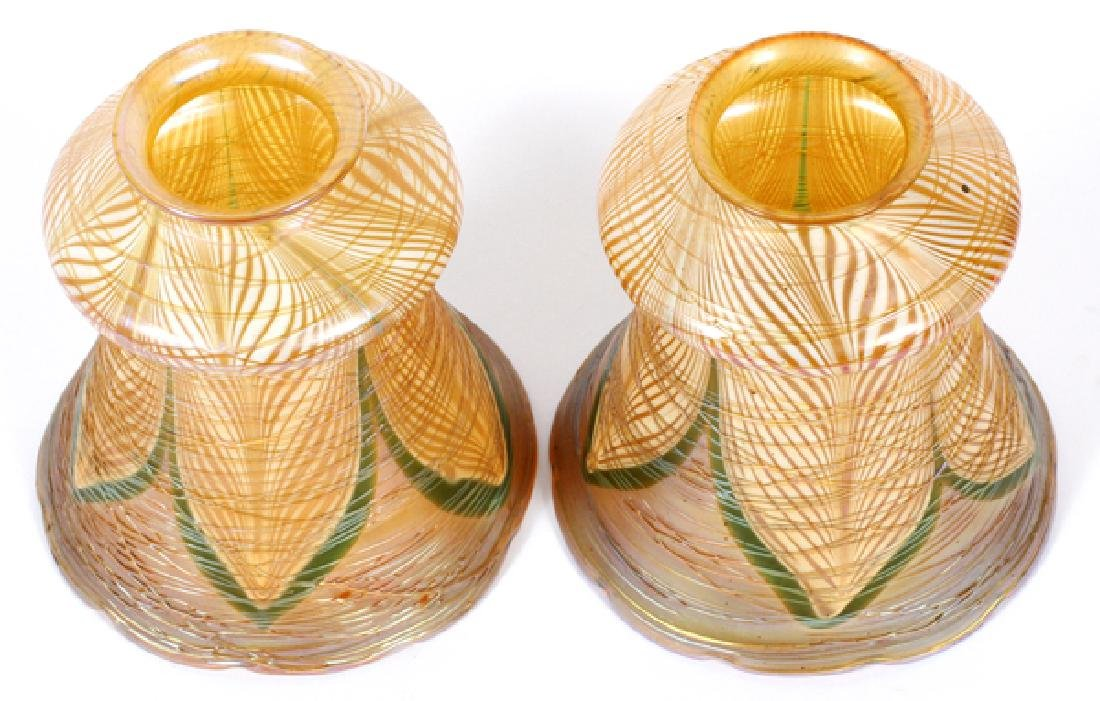 ATTRIB. TO QUEZAL THREADED ART GLASS SHADES - 2