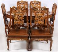 CHINESE CARVED WOOD DINING TABLE & 8 CHAIRS 11 PCS
