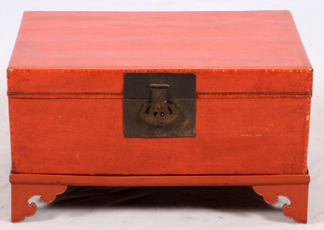 CHINESE LACQUERED CHEST ON STAND
